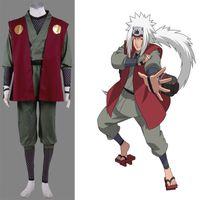 traje adulto de personagem unisex venda por atacado-Personagem de Banda Desenhada Naruto Jiraiya Cosplay Traje Conjunto Completo Unisex Adulto Tamanho XS-3XL Handmade Frete Grátis