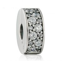 Wholesale Round Stopper Beads - 2017 New Shining Elegance Clip Charm Bead Fits Brand Bracelets 925 Sterling Silver Pave AAA Clear CZ Stopper Beads DIY Pandora Jewelry HB647