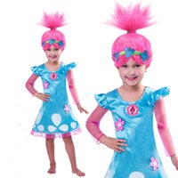 perücken kleider großhandel-Neue Cosplay Trolle Mohn Troll Kostüm Perücke Kind Kinder Mädchen Outfit Set Für Alter 4-10 Jahre
