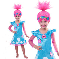 Wholesale Wigs For Halloween Costumes - New Cosplay Trolls Poppy Troll Fancy Dress Costume & Wig Child Kids Girls Outfit Set For Age 4-10 Years