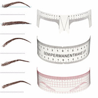 Wholesale Eyebrow Stencils Permanent Makeup - 6pcs Eyebrow Grooming Stencils Plastic Ruler Tattoo Cosmetic Shaping Tool Beginers Practice Template Reusable Permanent Makeup