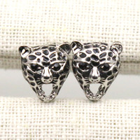 Wholesale Leopard Studs - Trendy Alloy Punk Black Color Leopard Shape Lady Stud Earrings Fashion Jewelry Women Earrings 15*15mm E001