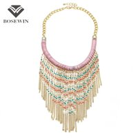Wholesale Collar Necklace Beaded - fashion New Bohemia Handmade Gold Chain Beaded Tassel Necklace Women Accessories Collar Big Necklaces & Pendants Statement Jewelry
