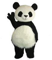 maskotlar saç toptan satış-Uzun Saç Panda Ayı Maskot Kostüm Yetişkin Maskot erkekler için Parti ve sevgililer Günü Şükran Günü Noel Cadılar Bayramı ve Yeni Yıl