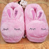 Wholesale Usb Warm Shoes - Stylish Love Rabbit plush USB warming shoes soft electric heating slipper foot warmer shoes in pink rabbit shape