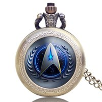 Hot Selling Style Star Trek Theme 3 couleurs Montre de poche avec chaîne de collier Haute qualité Fob Watch