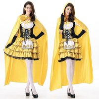 ingrosso costume adulto giallo della principessa-Costumi di Halloween Cosplay Sexy giallo principessa Orsi vestito a file per le donne Costume adulto in vita Cincher Top Skirt partito abiti uniformi