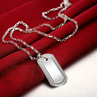 Wholesale Mens Military Necklaces - Military Army Style Silver Tags Chain Mens Pendant Necklace