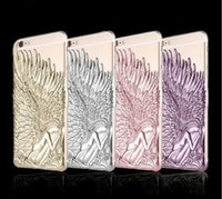 Wholesale Iphone Wings Cases Fashion Wholesale - Fashion Luxury Angel Wing Design Back Cover Case 3D Hard Plastic Case Back Cover Metal Angel Wings Design Case For Iphone 5s 6 6s Plus