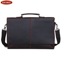 Atacado- Excelent Genuine Leather Vintage Cowhide Men Briefcase Tote Business Handbag Shoulder Bag Fit para 13 polegadas Laptop PR091079