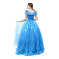 Wholesale Cinderella Costume For Women - Womens Long Blue Layered Halloween Party Cinderella Dress for Adult