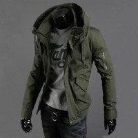 Wholesale Spring Military Jacket Men - 2016 spring and summer military jacket male slim popular men's clothing casual outerwear Army Green thin top trend