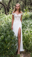 Wholesale New Fall Dresses - New A-Line Bridal Gowns 2017 Lace Chiffon Fall White Ivory Wedding Dresses Off Shoulder Sweep Train Front Split Sash Backless Wedding Gowns