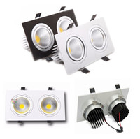 Wholesale Lighting Lamp Shell - COB Double Heads Led Fixture Ceiling Down Lights Dimmable 20W Square Led Downlights Lamp White Silver Black Shell