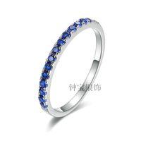 Wholesale Blue Jade Band - 925 sterling silver platinum diamond pieces inlaid sapphire micro drill   blue jade ring with diamond ring wedding ring