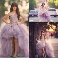 Wholesale Kids Lavender Flower Girl Dresses - 2017 Pretty Tulle Lavender High Low Flower Girls Dresses Princess Lace Appliques Ruffles Kids Prom Dresses Girls Pageant Gowns