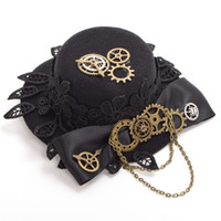 Wholesale Top Hat Head Wear - 1pc Gears Bowknot Hat Pattern Girls Steampunk Mini Top Hat Hair Clips Gothic Head Wear Gifts