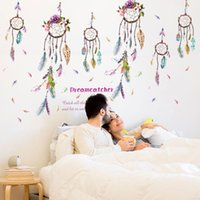 Wholesale Dreamcatcher Design - Colorful Campanula Feather Wall Sticker Dreamcatcher Vinyl Home Decor DIY Wall Art Bed room Decoration 60*90cm