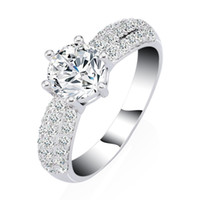 Wholesale Diamond Ring Gp - AAA+ Cubic Zirconia CZ Diamond Engagement Ring for Women 18k White Gold Plated GP Bridal Ring Shiny Fashion Jewelry