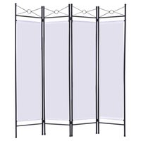 Wholesale Room Screen Divider - White 4 Panel Room Divider Privacy Folding Screen Home Office Fabric Metal Frame