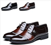 Wholesale Lace Splice Dress - Free Shipping Men Leather Shoes Pointed Toe Lace-Up Mens Shoes Flats Fashion Splice Business Dress Shoes For Men Size 39-44