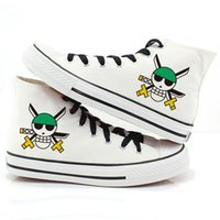 Wholesale Hand Painted High Top Sneakers - Hot Items One Piece Flag Men Women Hand-Painted High Top Lace-Up Skull Flag Graffiti Canvas Shoes for Boys Girls Flat Shoe Fashion Sneakers