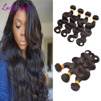 Wholesale Hair Colour 12 - Lucky Queen Weaves Peruvian Body Wave Hair Natural Colour Wet And Wavy Hair Extensions Virgin Peruvian Hair Bundles 4Pcs Lot Dyeable Weft