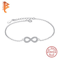 Wholesale Infinity Crystals - BELAWANG Authentic New Brand Women Infinity Bracelet 925 Sterling Silver CZ Crystal Charm Bracelet For Women Wedding Jewelry Gift