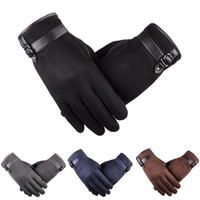 Wholesale Glove Thermal - Hot Selling Thermal Autumn Winter Gloves Men Mobile Phone Touch Gloves Antiskid Artificial Suede Mittens Driving Gloves YS0123