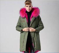 Wholesale Black Rose Hoods - Rose red fur 2017 winter jackets Luxurious Fur Coats itlay long canvas parkas rabbit fur lining snow coats