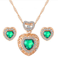 Green Love Heart Zircone Collana e orecchini Set per le donne Spose Matrimonio CZ Diamond Crysta Set di gioielli in argento Kit per le ragazze regalo 32s40