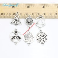 Wholesale craft pendants vintage for sale - Group buy 15pcs Antique Silver Golden Plated Vintage Tree of Life Flower Connectors Pendants for Jewelry Making DIY Handmade Craft x15mm