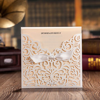 Wholesale Lace Engagement Invitations - Wholesale- White Square Laser Cut Flower with Bowknot Lace Pocket Engagement Wedding Invitations Card,12 Pcs Lot CW5002
