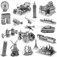 Wholesale Eiffel Tower 3d Puzzle Wood - Wholesale-3D Metal Puzzles for children Model kids Toys For Children Adult Cartoon Jigsaws Eiffel Tower Ford Car Tank Sky Wheel Titanic