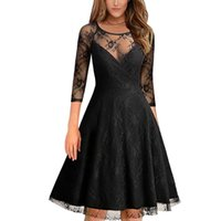 Vintage 50s 60s Sexy Lace Sheer dresses 2017 Mulheres O Neck Slim <b>Sexy Pin up</b> Rockabilly Solid 3/4 Sleeve A-Line Fashion Dress