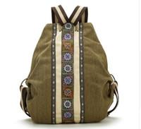 Wholesale Canvas Dots Backpacks For Girls - High Quality sac a dos Ethnic Vintage Canvas Backpacks for Women Embroidered Rucksack Drawstring Bag School Travel Boho Mochila