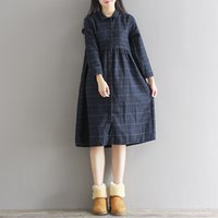 Wholesale Wool Dress Caps - Autumn Dress Plaid Print Wool Dress Vestido De Festa Women Dress Plus Size Vintage Lolita Winter Dress Blue Yellow Thick Dress