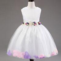 Wholesale Wedding Gown Rose Petal - Flower Girl Dresses Sleeveless Chiffon Rose Petal Dress Wedding Bridesmaid For Baby Children Toddler Teen Girls Princess Tulle Kids Clothing