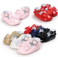 Wholesale Ballet Flats Toddlers - Wholesale- New Brand Lovely Bow Toddler First Walkers Pu leather Baby shoes Round Toe Flats Babe Ballet Dress Princess Shoes Soft Soled