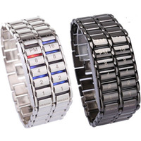 Wholesale binary black watches for sale - Group buy New Lava Style Iron Faceless Binary LED Wrist Watches for Man Clock Military Watches Relojes Black Silver