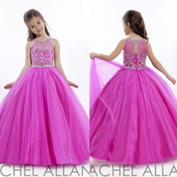 Wholesale Cheap Fuschia Beads - Princess Wedding Toddler Fuschia 2017 Pageant Ball Gowns Flower Girl Dresses Formal Long Cheap For Little Girls Dress Size 10 Crystals Cheap