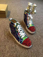 Wholesale Colorful Mens High Top Shoes - New Design Mens Top Quality Colorful Leather with Black Spikes Lace Up Red Bottom High Top Sneakers Male Casual Flats Shoes with box