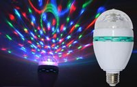 cheap E27 3W Colorful Auto Rotating RGB LED Bulb Stage Light Party Lamp Disco for home decoration lighting lamps