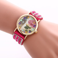 Wholesale Wholesale Women Colored Geneva Watches - Wholesales Women Wristwatch New Colored Flower Dress Watch Handmade Braided Friendship Bracelet Watch Ladies Geneva Quarz Watch 9 Colors