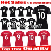 Wholesale Girls Spandex Shirts - 2017 2018 Women Top thai quality 17 18 black Man UNITED girl IBRAHIMOVIC Soccer Jersey POGBA ROONEY MARTIAL MEMPHIS jerseys Football shirts