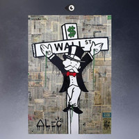 Wholesale Large Framed Oil Painting Canvas - Framed LARGE WALL STREET, High quality genuine Hand Painted Wall Decor Alec monopoly Pop Art Oil Painting On Canvas,Multi size Free Shipping
