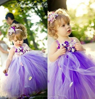 Wholesale Puffy Dresses For Cheap - 2017 New Cute Princess Purple Tulle Flower Girls' Dresses for Weddings Hand Made Flower Puffy Cheap First Communion Tutu Dress