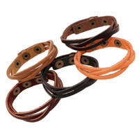 Wholesale Multilayer Braid Leather Bracelets Handmade - Multilayer Wrap Men and Women Handmade Synthetic Leather Braided Rope Adjustable Retro Bracelet Cusual Sport Charm Bracelets Free Shipping