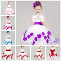 Wholesale New Girl S Pageant Dresses - Children dress baby girls dresses pageant Princess dress new flower girl dress kids wedding prom party 3-10 T free shipping DK5013CR