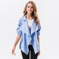 Wholesale elegant winter coats for women - Autumn Winter Jackets for Women Casual Cardigan Turn-down Collar Solid Color Outwear Coat Long Sleeve Loose Elegant Windbreaker Jacket
